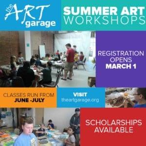 The Art Garage Summer Art Workshops 2018 registration