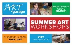 The ARTgarage youth Summer Art Workshops registration opens March 1