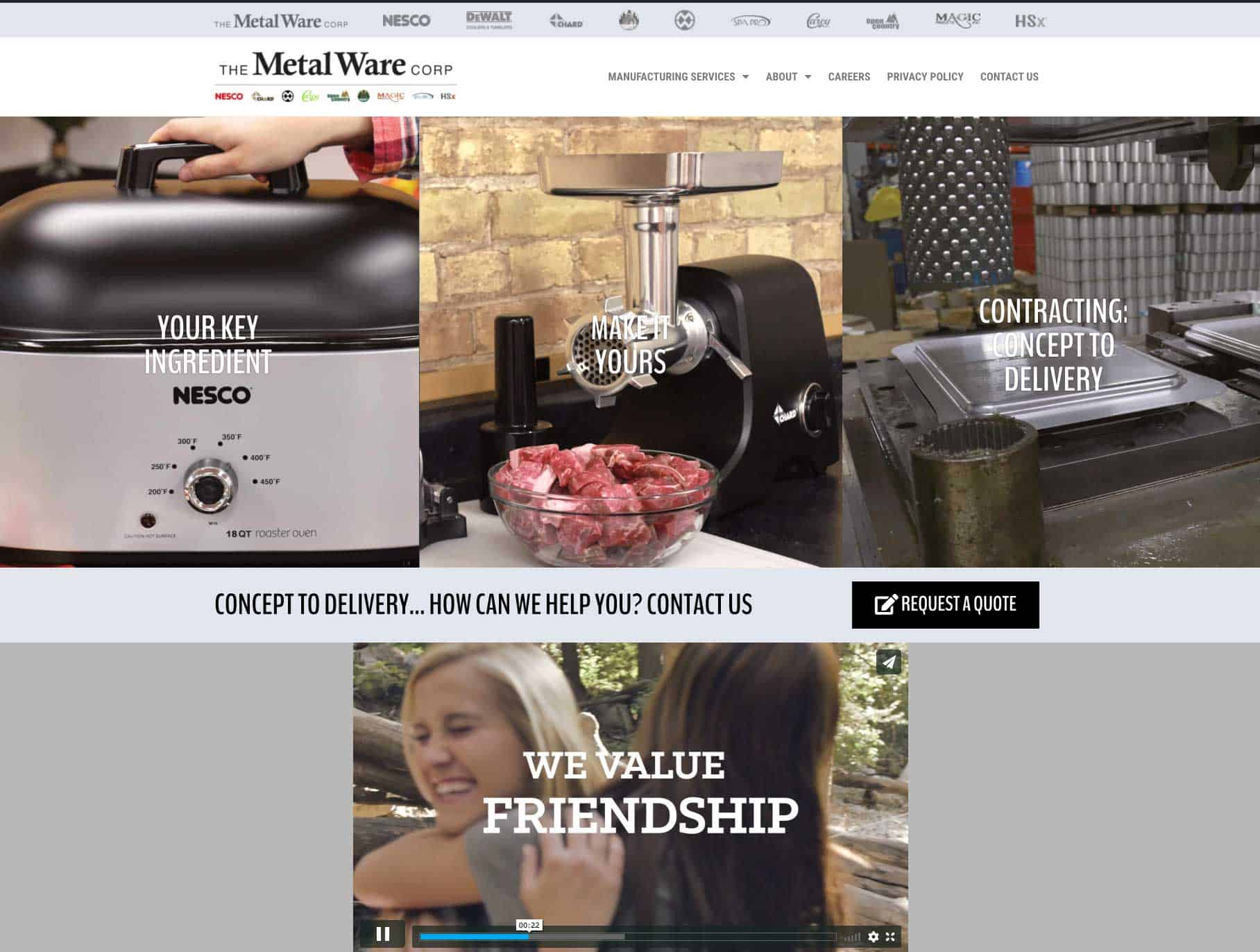 Metal Ware updates its website to highlight contract manufacturing