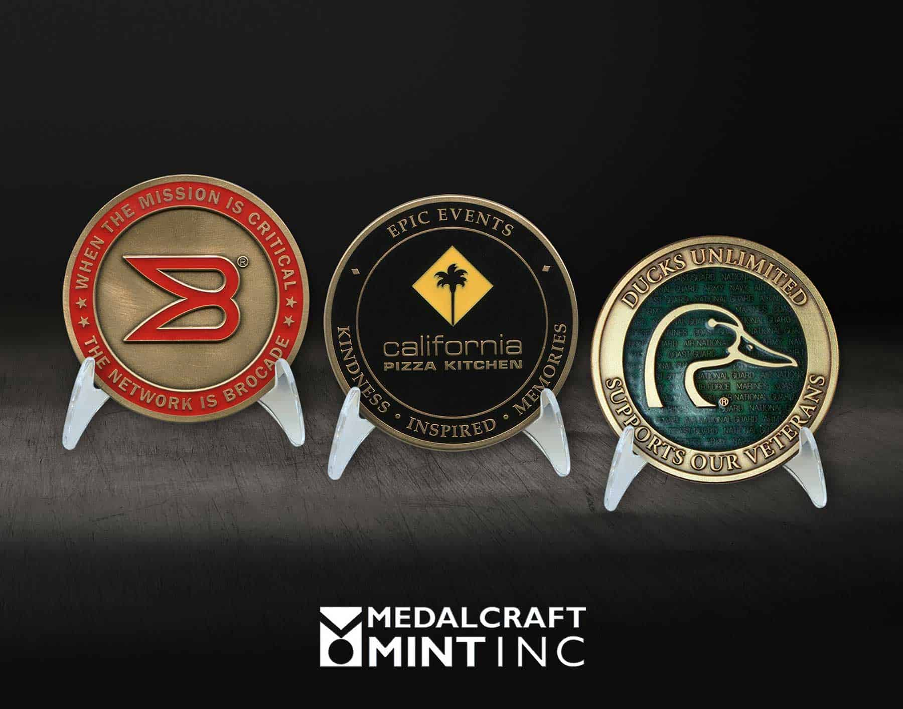 Enamel coins, custom large-diameter medallions pop with color